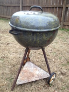 Ed's 56 Weber Grill - Vintage Custom Bar-b-que kettle with yellow drizzle factory paint finish.