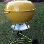 "Side photo of 22"" yellow kettle"
