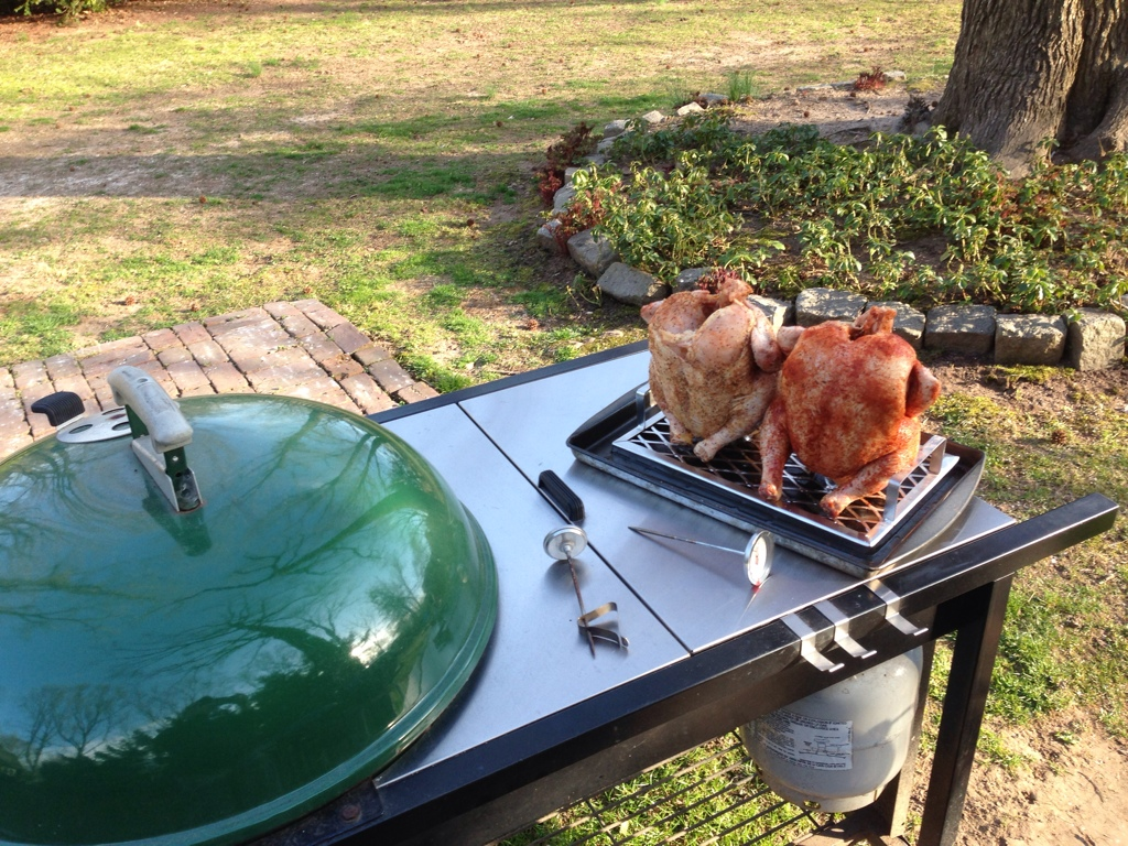 Beercan Chicken on Weber kettle