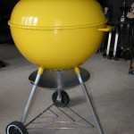 "1970's 22"" Yellow Weber Kettle side photo"