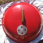 "1970's red 22"" kettle lid"