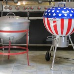 original weber next to stars and stripes weber kettle