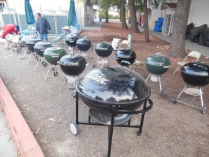 Grilling is serious business. Thanksgiving 2013 - 11 kettles, 2 Ranch kettles, 30 turkeys in 6 hours. Nice job Jim!