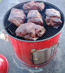 Pork butts on Weber smoker