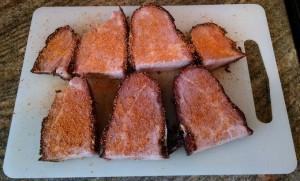 Seasoned unpulled pork steaks