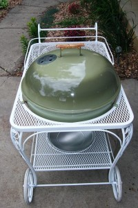 1967 Weber Seville. Overhead photo of cart and kettle.