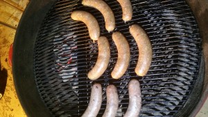 This is after about 20 minutes. The sausages cooked surprisingly fast, but they had no color. They were all cooked evenly, none showed any signs of hot spots.