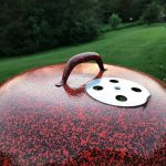 Orange and Black Speckled Custom lid handle