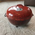 Orange and Black Speckled Custom bowl and lid side view