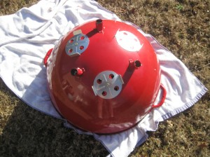 """1970's red 22"""" kettle bowl"""