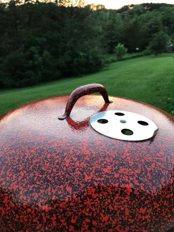 Orange and Black Speckled Custom lid handle